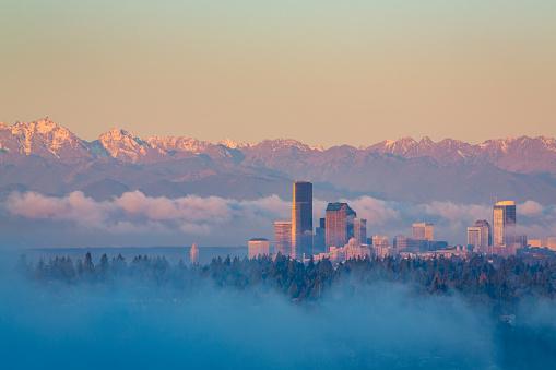 コースト山脈「Seattle skyline and Olympic mountains.」:スマホ壁紙(19)