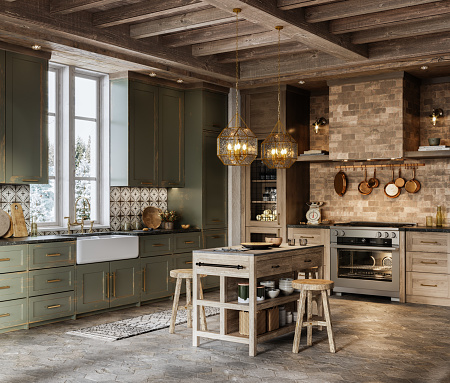 Chalet「3d rendering of kitchen island with stools in cottage」:スマホ壁紙(4)