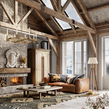 Chalet「3d rendering of a furnished winter cottage living Room」:スマホ壁紙(16)
