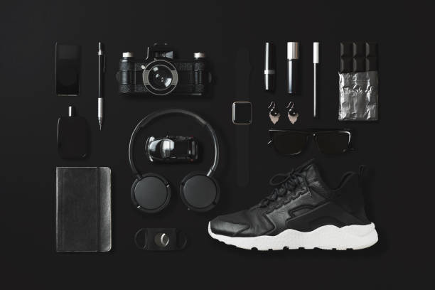 Black fashion and technology items flat lay on black background:スマホ壁紙(壁紙.com)