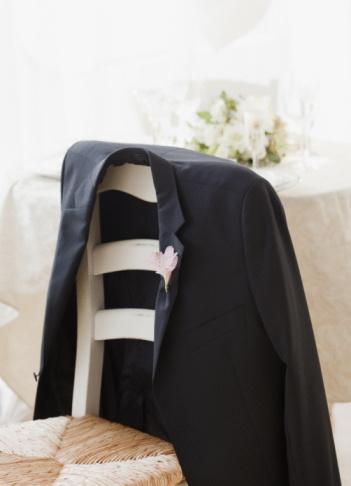 Well-dressed「Grooms suit jacket on chair at wedding, studio shot」:スマホ壁紙(0)