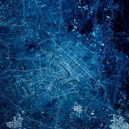 Digital Composite「Baghdad Iraq 3D Render Map Blue Top View Jun 2019」:スマホ壁紙(16)