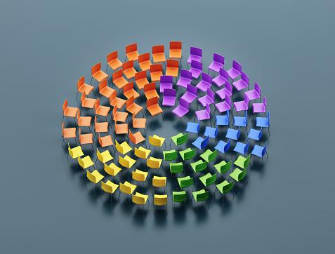 Politics「Multicolored chairs forming a circle」:スマホ壁紙(11)