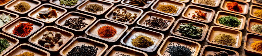 Fennel「Variety of colorful, organic, dried, vibrant Indian food spices in wooden trays on an old wood background.」:スマホ壁紙(7)