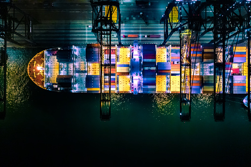 Traffic「Container ship in import export and business logistic, International transportation, Business logistics concept,Night view, Hong Kong」:スマホ壁紙(11)