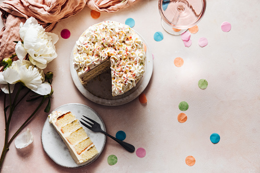 Serving Food and Drinks「Slice of a birthday cake on plate」:スマホ壁紙(13)