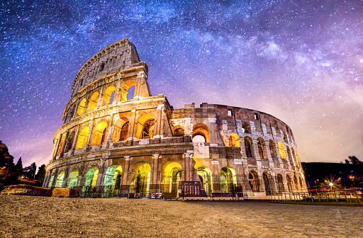 High Dynamic Range Imaging「Colosseo roma coliseum colosseum rome no people exterior night milkyway」:スマホ壁紙(8)