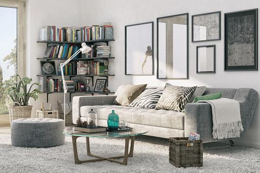 Coffee Table「Corner Bookshelf and Cozy Sofa」:スマホ壁紙(18)