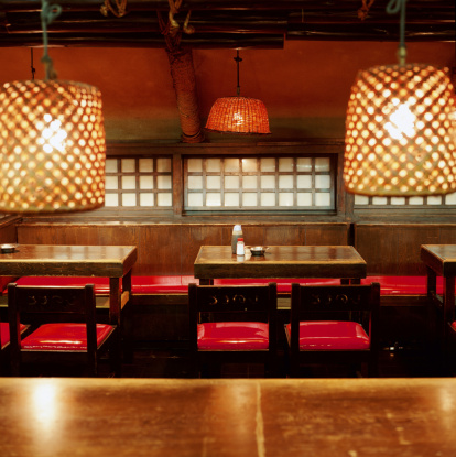 Bar Counter「Empty tables and chairs in Japanese restaurant」:スマホ壁紙(8)