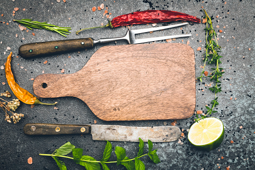 Cutting Board「Ingredients for cooking. Food background」:スマホ壁紙(4)