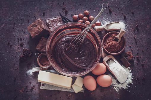 Recipe「Ingredients for chocolate brownie preparation. Retro style」:スマホ壁紙(15)