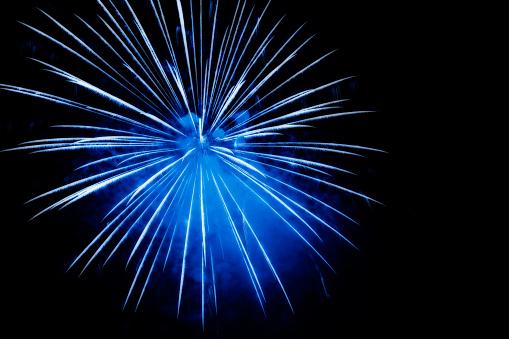 花火「ブルーの花火爆発」:スマホ壁紙(4)
