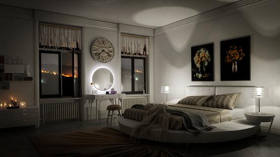 Illuminated「Stylish Bedroom Interior」:スマホ壁紙(14)