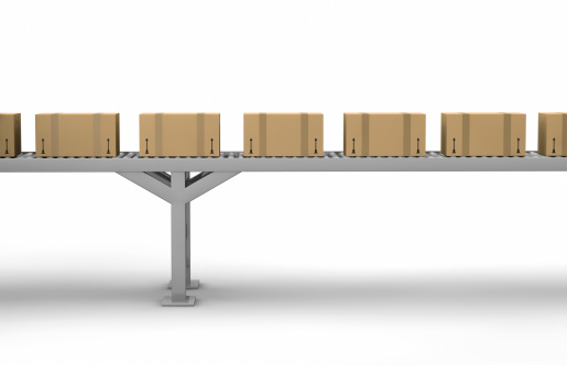 Industry「Cartons on a conveyor belt on white」:スマホ壁紙(18)
