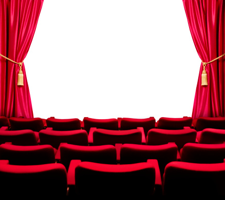 Velvet「Theatre seats with open curtain and white screen」:スマホ壁紙(5)