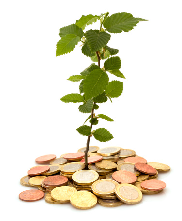 Planting「little tree growing from coin heap」:スマホ壁紙(14)