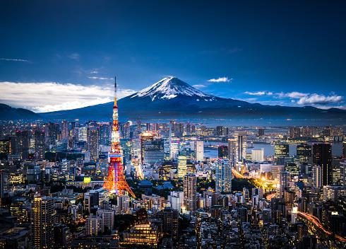 Tokyo Tower「Mt. Fuji and Tokyo skyline」:スマホ壁紙(19)