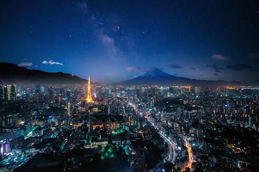 Tokyo Tower「Mt. Fuji and Tokyo skyline」:スマホ壁紙(4)