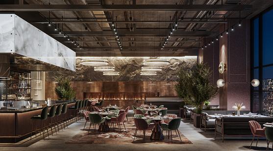 夜景「夜の高級レストランのインテリア」:スマホ壁紙(16)
