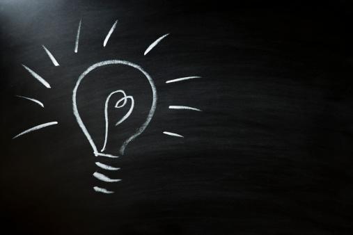 Chalk - Art Equipment「light bulb on blackboard」:スマホ壁紙(19)