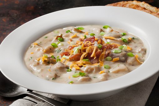 Cream Soup「Creamy Baked Potato Soup with Cheddar Cheese, Green Onions and Crispy Bacon」:スマホ壁紙(14)