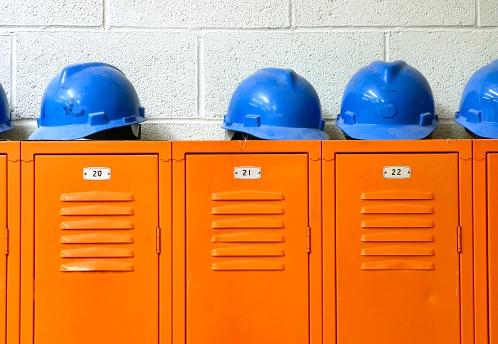 Carpentry「Blue Hard Hats on top of orange Lockers」:スマホ壁紙(15)