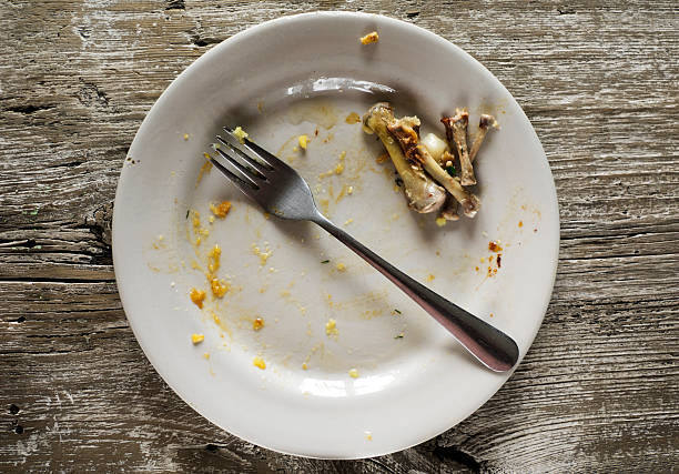 Dirty plate with leftover chicken bones:スマホ壁紙(壁紙.com)