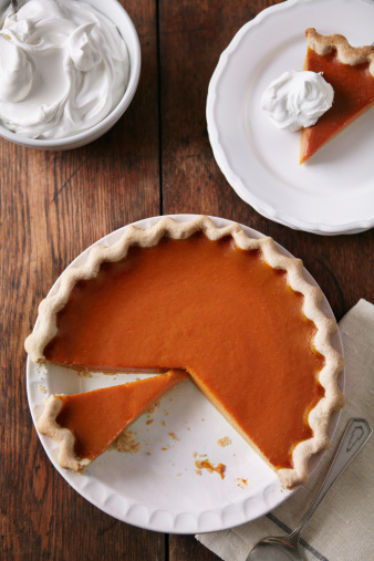 Dairy Product「Sliced pumpkin pie on wood table, from above」:スマホ壁紙(3)