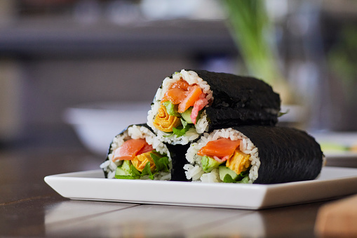 Salmon - Seafood「Rice roll wrapped in a plate.」:スマホ壁紙(14)