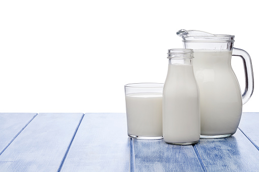 Milk Bottle「Milk jar, milk bottle and milk glass shot on blue striped table against blue striped table」:スマホ壁紙(0)