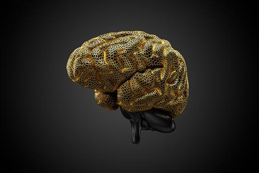 Intelligence「Voronoi Gehirn gold -quer」:スマホ壁紙(1)