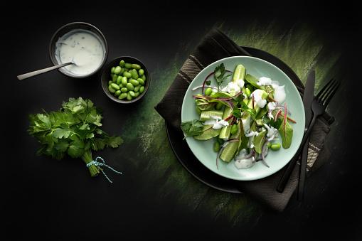 Vegetarian Food「Salads: Salad with Cucumber, Lettuce, Soybeans, Parsley and Yoghurt Dressing」:スマホ壁紙(2)