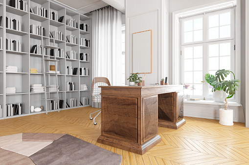 Ancient「Library in the Home Office with Wooden Desk」:スマホ壁紙(16)