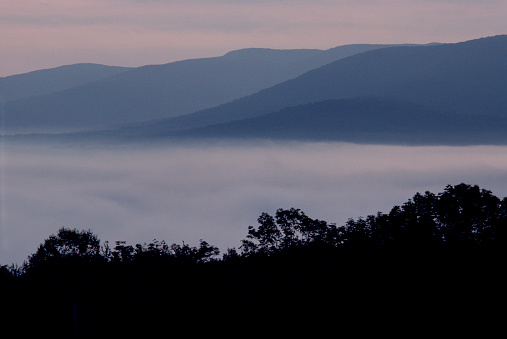 グリーン山脈「Morning fog and distant mountains」:スマホ壁紙(4)