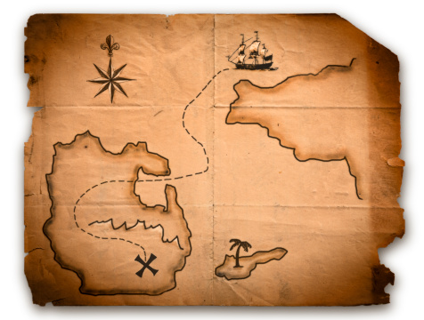 Island「Close up of antique world map with ship route」:スマホ壁紙(4)