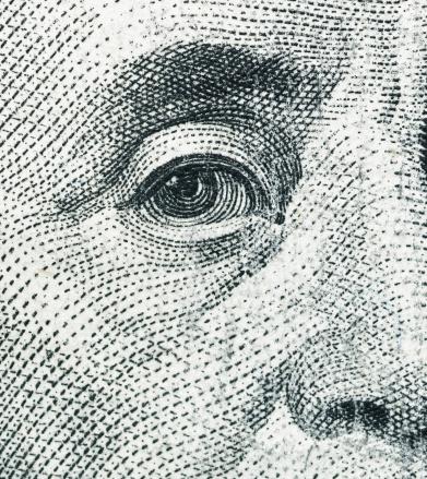 American One Hundred Dollar Bill「Close Up of Benjamin Franklin on a 100 Dollar Bill」:スマホ壁紙(5)
