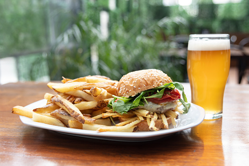 Snack「Close up of delicious hamburger with french fries and beer」:スマホ壁紙(0)