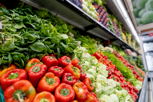 Supermarket「Close up of fresh vegetables at the refrigerated section of a supermarket」:スマホ壁紙(15)