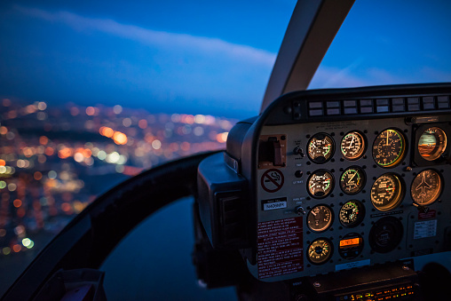 Helicopter「Close up of control panel of airplane flying at night」:スマホ壁紙(5)