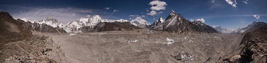 Khumbu「Panoramic banner of Everest Range Scoundrels Viewpoint, with Mt Everest, Lhotse and Cho Oyu, Everest Base Camp via Gokyo Trek, Nepal」:スマホ壁紙(1)