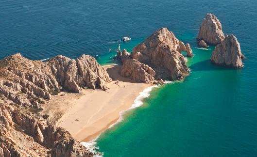 Natural Arch「El Arco and Lover's Beach Aerial View」:スマホ壁紙(4)