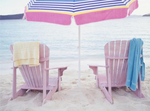 Deck Chair「Deckchair chairs on beach, rear view」:スマホ壁紙(16)