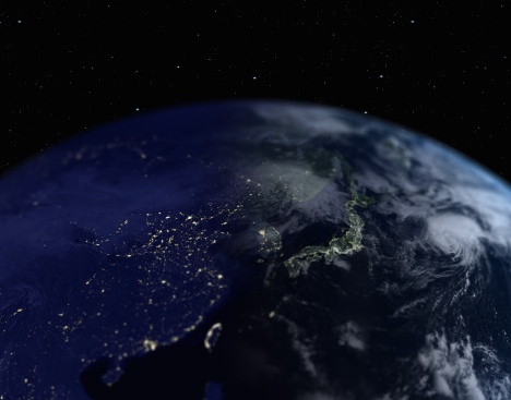 Outer Space「Earth with view of Japan and Southeast Asia, close up, view from space」:スマホ壁紙(3)