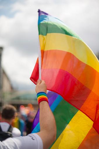 Dublin - Republic of Ireland「Rainbow gay pride flag and wristband in Pride Parade」:スマホ壁紙(19)