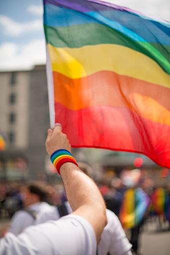 Dublin - Republic of Ireland「Rainbow gay pride flag and wristband in Pride Parade」:スマホ壁紙(15)