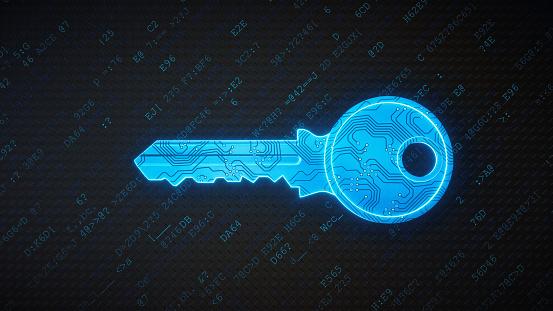Circuit Board「Blue circuitry digital key on encrypted data」:スマホ壁紙(1)