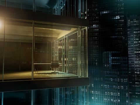 Finance「Empty office with light on in a dark night」:スマホ壁紙(19)