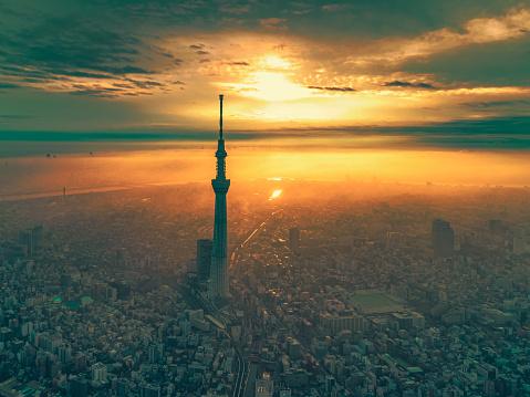 富士山「夜明けの東京の日の出の街並み」:スマホ壁紙(8)