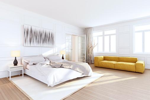Hotel Suite「White Luxury Bedroom Interior」:スマホ壁紙(18)