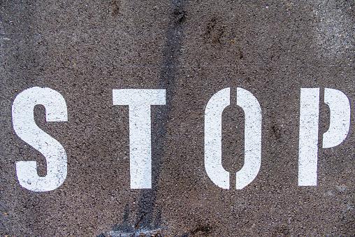 Single Word「'Stop' on tarmac」:スマホ壁紙(19)
